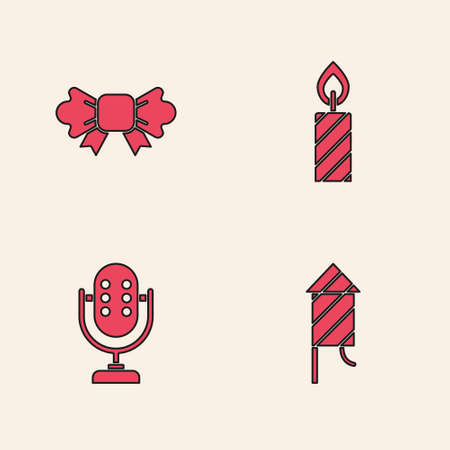 Set Firework rocket, Bow tie, Birthday cake candles and Microphone icon. Vector