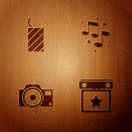 Set Calendar party, Firework rocket, Photo camera and Music note, tone on wooden background. Vector Vectores