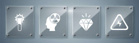 Set High voltage, Diamond, Head and radiation symbol and Test tube and flask. Square glass panels. Vector Stock Illustratie
