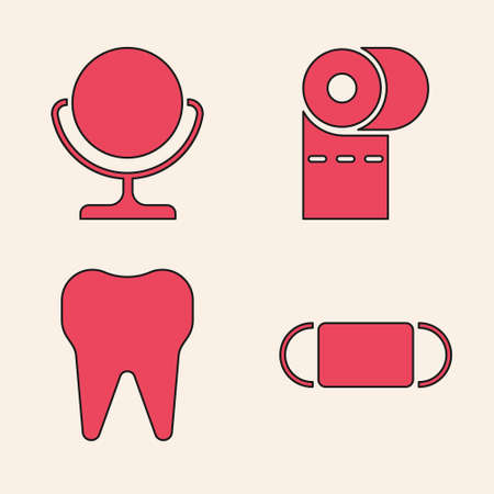 Set Medical protective mask, Round makeup mirror, Toilet paper roll and Tooth icon. Vector