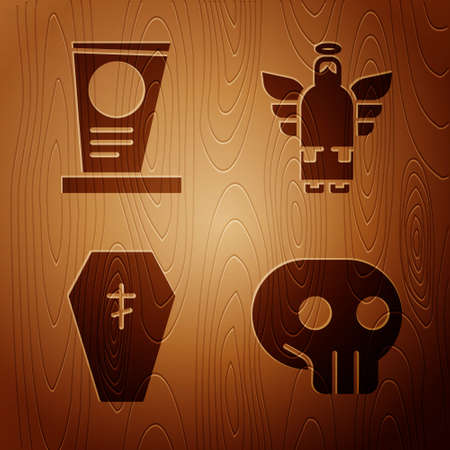 Set Skull, Grave with tombstone, Coffin with cross and Christmas angel on wooden background. Vector