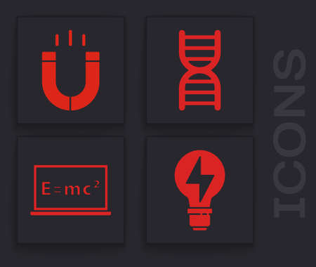 Set Light bulb with lightning, Magnet, DNA symbol and Equation solution icon. Vector Stock Illustratie