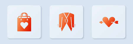 Set Suit, Shopping bag with heart and Amour and arrow. White square button. Vector