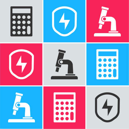 Set Calculator, Secure shield with lightning and Microscope icon. Vector