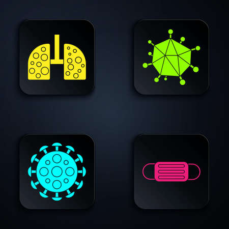 Set Medical protective mask, Virus cells in lung, Virus and Virus. Black square button. Vector 向量圖像