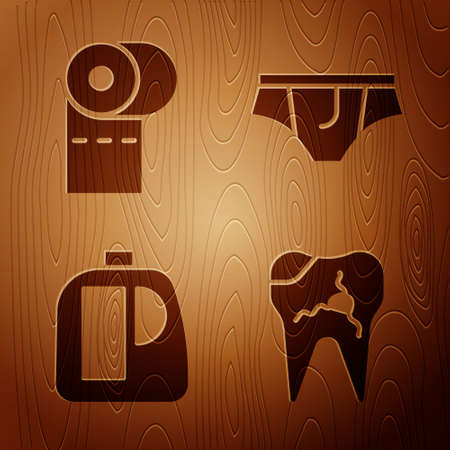 Set Broken tooth, Toilet paper roll, Bottles for cleaning agent and Underwear on wooden background. Vector