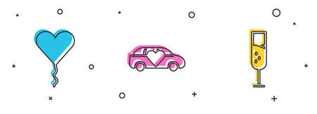 Set Balloon in form of heart, Limousine car and Glass champagne icon. Vector Illustration