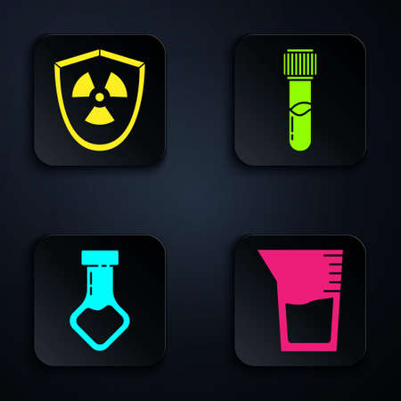 Set Laboratory glassware or beaker, Radioactive in shield, Test tube and flask chemical and Test tube and flask chemical. Black square button. Vector