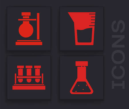 Set Test tube and flask chemical, Test tube flask on stand, Laboratory glassware or beaker and Test tube and flask chemical icon. Vector