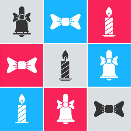 Set Merry Christmas ringing bell, Bow tie and Burning candle in candlestick icon. Vector Vectores