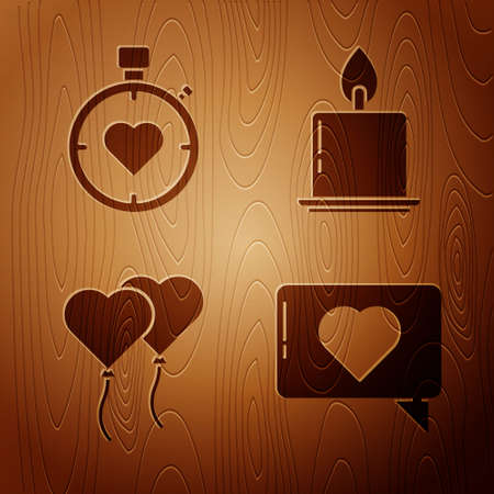 Set Like and heart, Heart in the center stopwatch, Balloons in form of heart and Burning candle on wooden background. Vector Vectores
