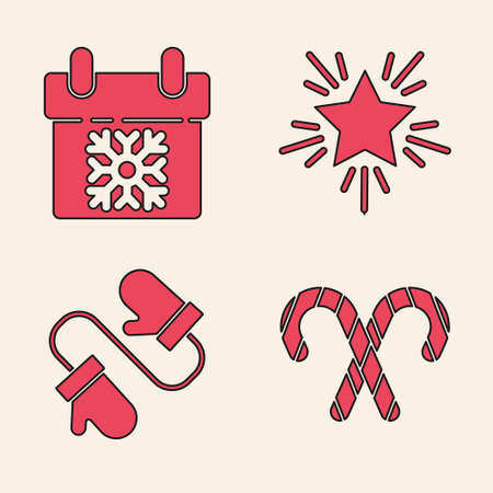 Set Christmas candy cane with stripes, Calendar, Christmas star and Pair of knitted christmas mittens icon. Vector