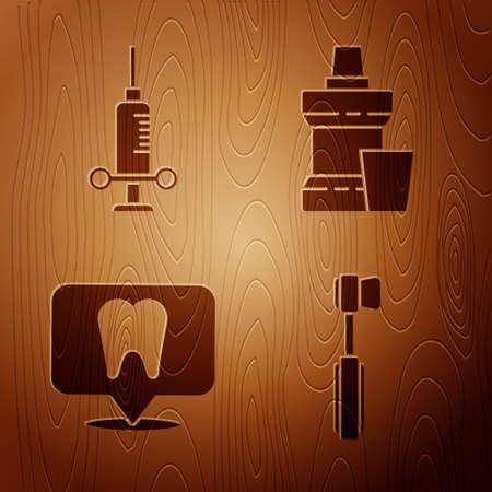 Set Toothbrush, Dental medical syringe, Dental clinic location and Mouthwash plastic bottle on wooden background. Vector Vettoriali