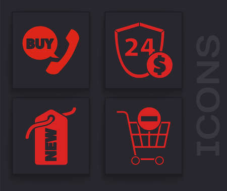 Set Remove shopping cart, Phone and speech bubble with Buy, Shield with dollar and Price tag with New icon. Vector Stock Illustratie