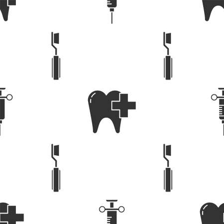 Set Dental medical syringe, Dental clinic for dental care tooth and Toothbrush on seamless pattern. Vector Vettoriali