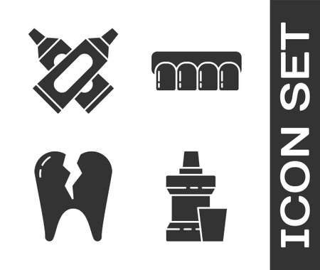 Set Mouthwash plastic bottle, Crossed tube of toothpaste, Broken tooth and Dentures model icon. Vector