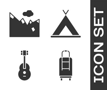 Set Suitcase, Mountains, Guitar and Tourist tent icon. Vector