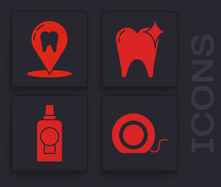 Set Dental floss, Dental clinic location, Tooth whitening concept and Mouthwash plastic bottle icon. Vector