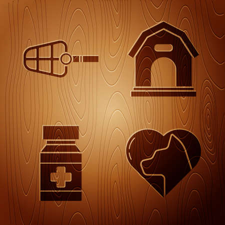 Set Heart with cat, Dog muzzle, Dog medicine bottle and pills and Dog house on wooden background. Vector Illustration
