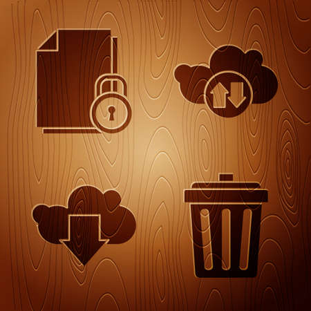 Set Trash can, Document and lock, Cloud download and Cloud download and upload on wooden background. Vector
