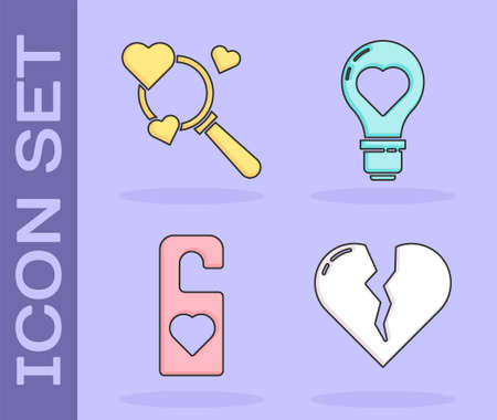 Set Broken heart or divorce, Search heart and love, Please do not disturb with heart and Heart shape in a light bulb icon. Vector  イラスト・ベクター素材