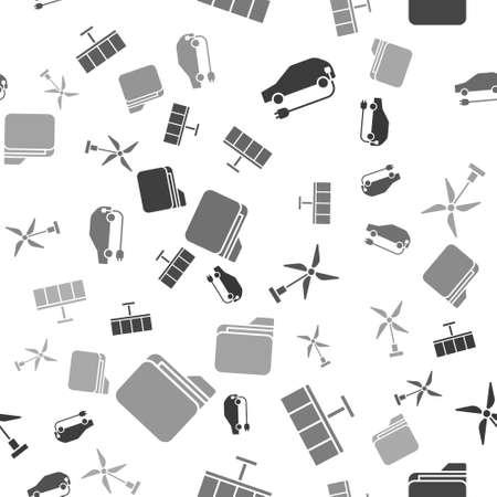 Set Electric car, Solar energy panel, Wind turbine and Document folder on seamless pattern. Vector Vettoriali