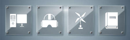 Set User manual, Wind turbine, Virtual reality glasses and Computer monitor. Square glass panels. Vector