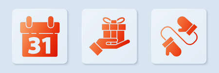 Set Gift box in hand, Calendar and Pair of knitted christmas mittens. White square button. Vector