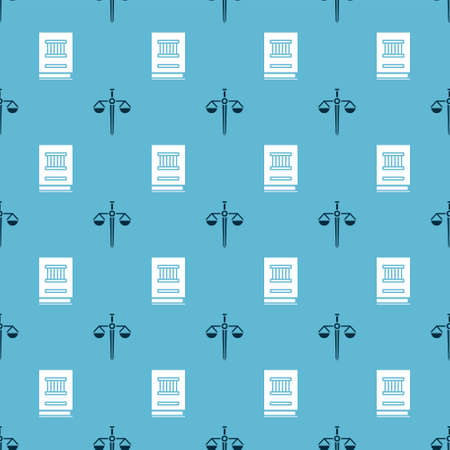 Set Scales of justice and Law book on seamless pattern. Vector