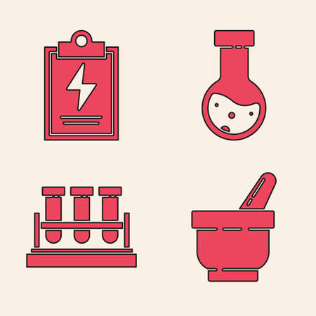 Set Mortar and pestle, Laboratory clipboard with checklist, Test tube and flask chemical and Test tube and flask chemical icon. Vector