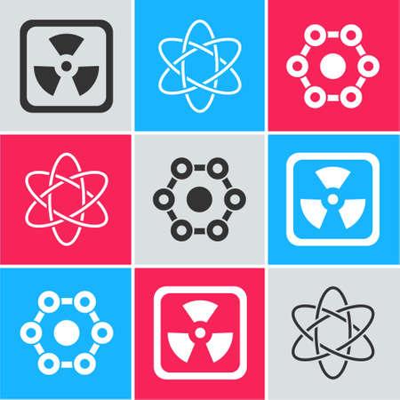 Set Radioactive, Atom and Chemical formula icon. Vector