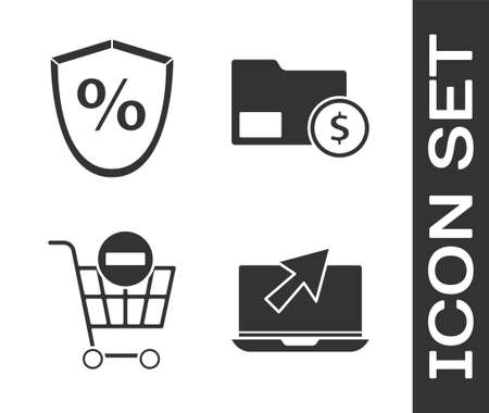 Set Laptop and cursor, Loan percent, Remove shopping cart and Envelope with coin dollar icon. Vector