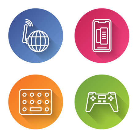 Set line Social network, Smartphone, mobile phone, Pills in blister pack and Gamepad. Color circle button. Vector
