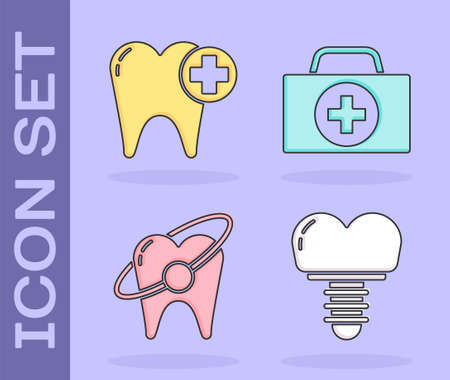Set Dental implant, Tooth, Tooth whitening concept and First aid kit icon. Vector
