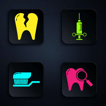 Set Dental search, Broken tooth, Toothbrush with toothpaste and Dental medical syringe. Black square button. Vector