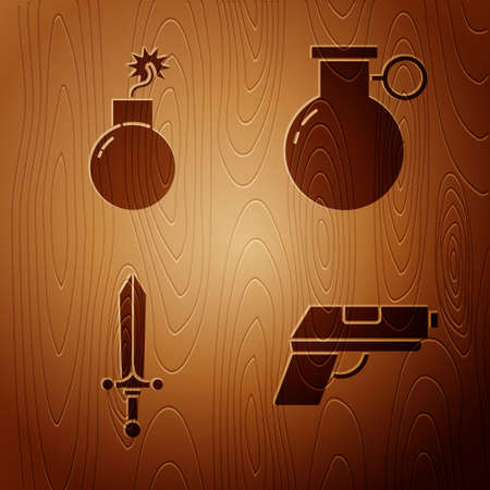 Set Pistol or gun, Bomb ready to explode, Medieval sword and Hand grenade on wooden background. Vector