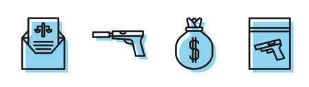 Set line Money bag, Subpoena, Pistol or gun with silencer and Evidence bag and pistol or gun icon. Vector
