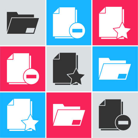 Set Document folder, Document with minus and Document with star icon. Vector