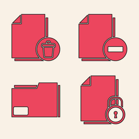Set Document and lock, Delete file document, Document with minus and Document folder icon. Vector Stock Illustratie