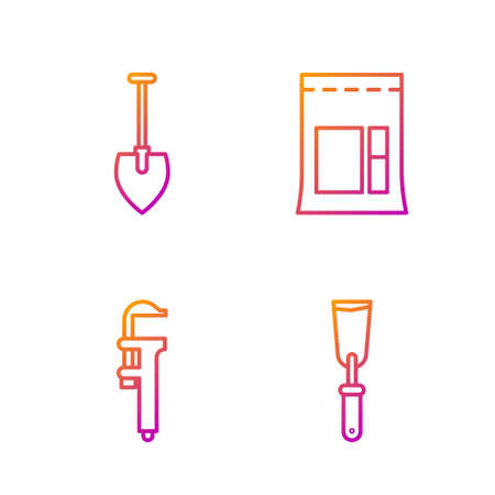 Set line Putty knife, Calliper or caliper and scale, Shovel and Cement bag. Gradient color icons. Vector Иллюстрация