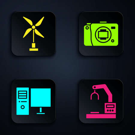 Set Robotic robot arm hand factory, Wind turbine, Computer monitor and Mirrorless camera. Black square button. Vector