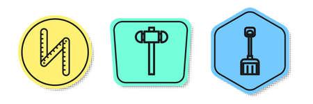 Set line Folding ruler, Sledgehammer and Snow shovel. Colored shapes. Vector