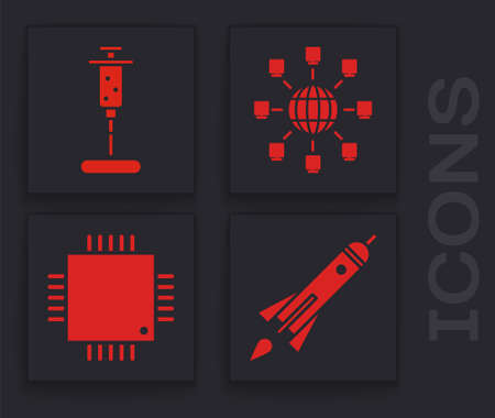 Set Rocket ship with fire, Syringe, Social network and Processor with microcircuits CPU icon. Vector Illustration