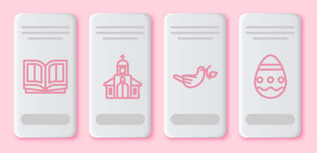 Set line Holy bible book, Church building, Peace dove with olive branch and Easter egg. White rectangle button. Vector