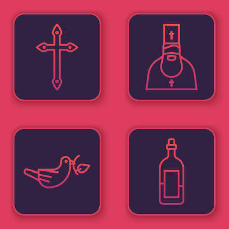 Set line Christian cross, Peace dove with olive branch, Priest and Bottle of wine. Blue square button. Vector