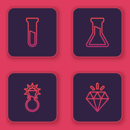 Set line Test tube and flask, , and Diamond. Blue square button. Vector