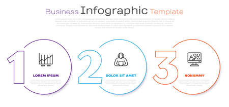 Set line Pie chart infographic, Student and Online education. Business infographic template. Vector