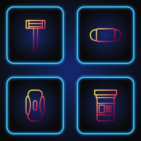 Set line Medicine bottle, Sanitary napkin, Shaving razor and Medical protective mask. Gradient color icons. Vector Illustration