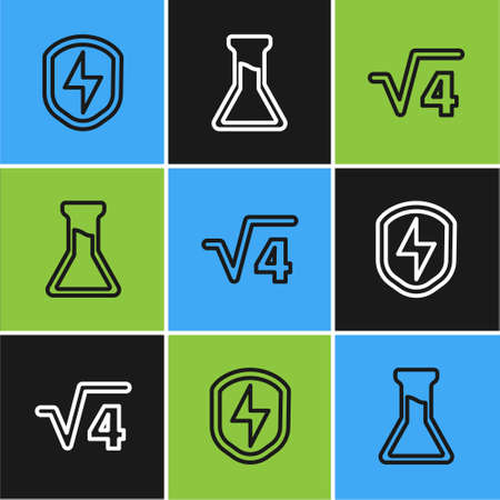 Set line Secure shield with lightning, Square root of 4 glyph and Test tube and flask icon. Vector
