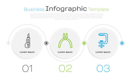 Set line Stationery knife, Pliers tool and Clamp and screw tool. Business infographic template. Vector Vettoriali